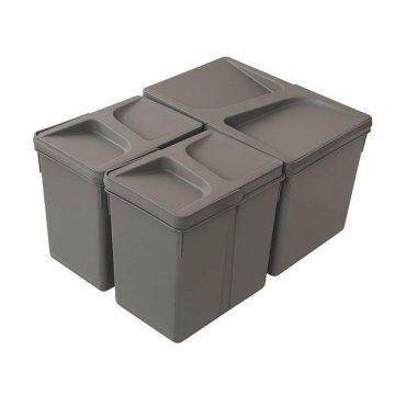 Комплект системы сортировки мусора в базу 450-700mm, 1 ведро 12 литров+ 2 ведра по 6 литров H=216mm с крышкой, пластик серый FIRMAX