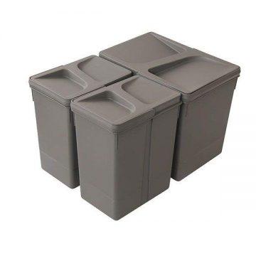 Комплект системы сортировки мусора в базу 450-700mm, 1 ведро 15 литров+ 2 ведра по 7 литров H=266mm с крышкой, пластик серый FIRMAX