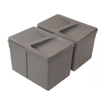 Комплект системы сортировки мусора в базу 450-700mm, 2 ведра по 12 литров H=216mm с крышкой, пластик серый FIRMAX