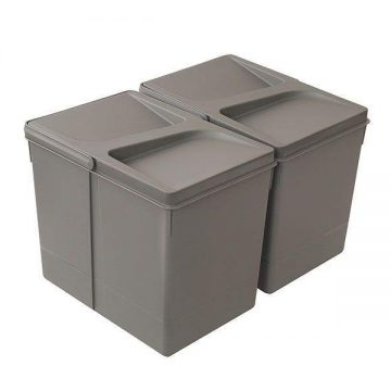 Комплект системы сортировки мусора в базу 450-700mm, 2 ведра по 15 литров H=266mm с крышкой, пластик серый FIRMAX