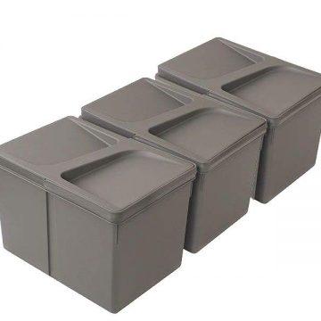 Комплект системы сортировки мусора в базу 800-1000mm, 3 ведра по 12 литров H=216mm с крышкой, пластик серый FIRMAX