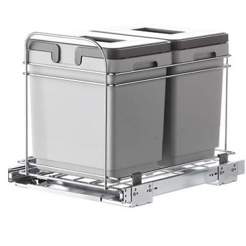 Система утилизации отходов в базу 400мм, направляющие полного выдвижения, мягкого закрывания, 2 съемных ведра по 15л.