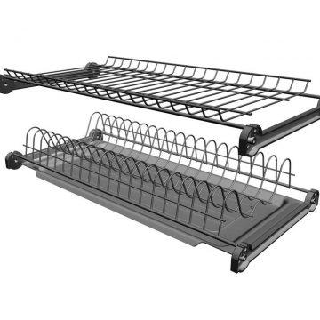 Сушка 2-х уровневая для тарелок/чашек в базу 400мм(для плиты 16мм), без рамы с пласт. поддоном, антрацит