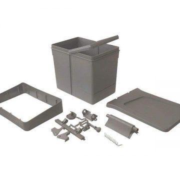 Ведро для мусора 15 литров с крышкой, H=295mm, пластик серый FIRMAX
