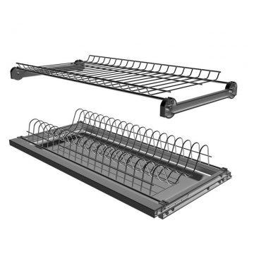 Сушка 2-х уровневая для тарелок/чашек в базу 400мм(для плиты 16мм), с рамой, с пласт. поддоном, антрацит