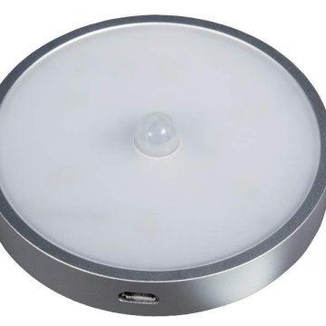 CENTALIUS LED светильник аккумуляторный c датчиком движения, серебристый, теплый белый 3000K, 50Lm, 0.8W