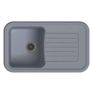 Мойка врезная EW-A60F, цвет серый металлик, кварц (+сифон)