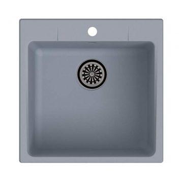 Мойка врезная EW-G50, цвет серый металлик, кварц (+сифон)