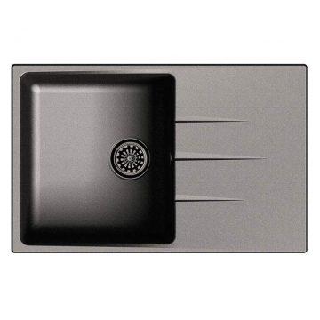Мойка врезная EW-G60F, цвет черный, кварц (+сифон)