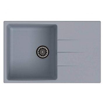 Мойка врезная EW-G60F, цвет серый металлик, кварц (+сифон)