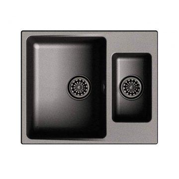 Мойка врезная EW-G60K, цвет черный, кварц (+сифон)