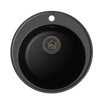 Мойка врезная GF-QUARZ (Z08) D=480 мм, цвет черный, кварц