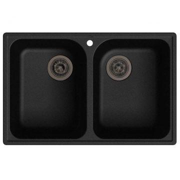 Мойка врезная GF-QUARZ (Z15) 74х48см, цвет черный, кварц