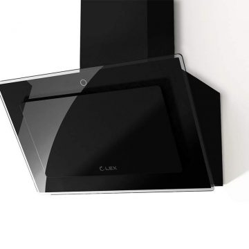 Вытяжка наклонная MIKA GS 600 BLACK, ширина 600 мм, черное стекло