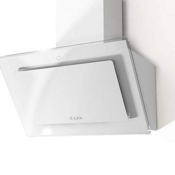 Вытяжка наклонная MIKA GS 600 WHITE, ширина 600 мм, белое стекло