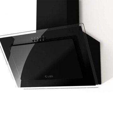 Вытяжка наклонная MIKA G 500 BLACK, ширина 500 мм, черное стекло