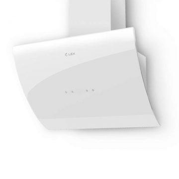 Вытяжка наклонная PLAZA 600 WHITE, ширина 600 мм, белый, фасад из стекла
