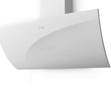 Вытяжка наклонная PLAZA 900 WHITE, ширина 900 мм, белый, фасад из стекла