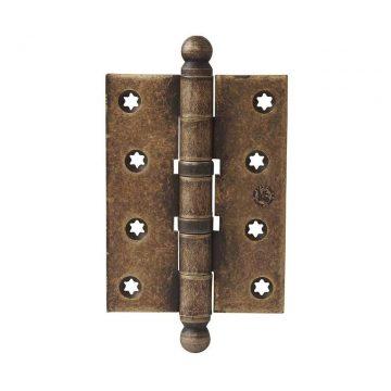 Петля карточная, универсальная 101х76х3 мм для дверей до 65 кг., античная латунная сталь