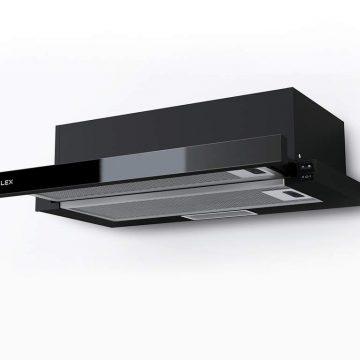Вытяжка встраиваемая HUBBLE G 2M 600 BLACK, ширина 600 мм, черное стекло