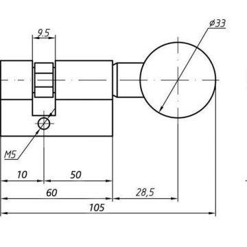 Цилиндр профильный ELEMENTIS с ручкой 10/50(ручка), никелированный