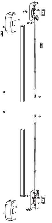 Комплект запоров горизонтальных (2 шт.) с 2-мя тягами и ответными планками, 2 точки запирания, до 2640 мм, черный, 07837500N