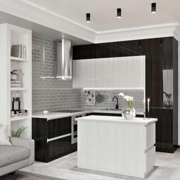 Кухня с островком, AGT глянец, белый/черный