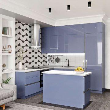 Кухня с островком, AGT глянец, светло-синий