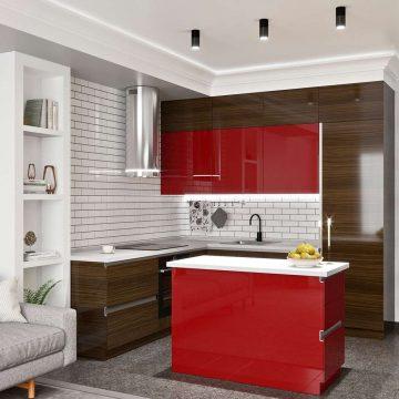 Кухня с островком, AGT матовый, красный/эбеновое дерево