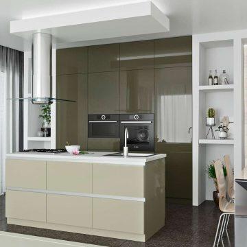 Кухня с островком, AGT матовый, серый/кашемир