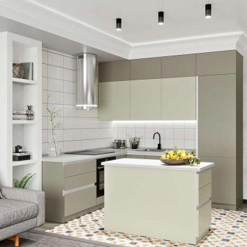Кухня с островком, AGT матовый, серый/серый камень