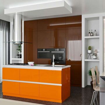 Кухня с островком, AGT матовый коричневый/глянец оранжево-кремовый