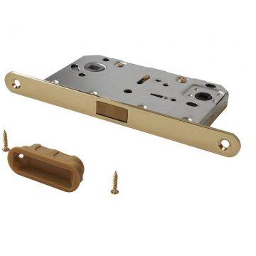 Замок магнитный MAXBAR с ответной планкой, 50/96/18 мм, для сантехнических узлов, латунь матовая