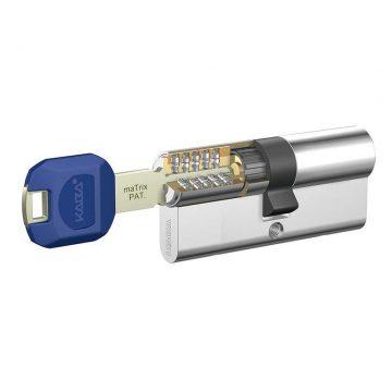 Цилиндр KABA maTrix 60 (30+30), 3 ключа Large Key с голубой пластиковой клипсой, НИКЕЛЬ