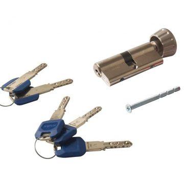 Цилиндр с вертушкой KABA maTrix 70 (35+35В), 3 ключа Large Key с голубой пластиковой клипсой, НИКЕЛЬ