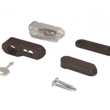 Блокиратор открывания окна ELEMENTIS флажковый с ключом (детский замок), коричневый RAL 8019