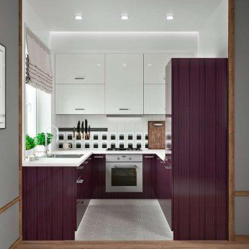 Кухня П-образная, AGT глянец, белый/фиолетовый