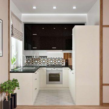 Кухня П-образная, AGT глянец, черный/кремовый