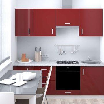 Кухня прямая, AGT глянец, алый красный