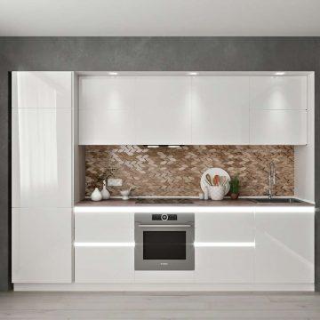 Кухня прямая, AGT глянец, белый