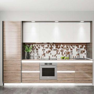 Кухня прямая, AGT глянец, белый/беленый дуб