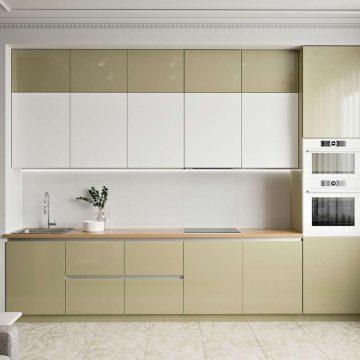 Кухня прямая, AGT глянец, белый/бежевый