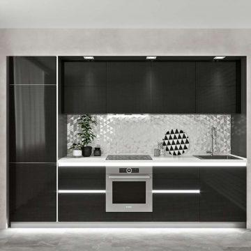 Кухня прямая, AGT глянец, черный