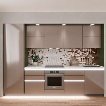 Кухня прямая, AGT глянец, коричневый