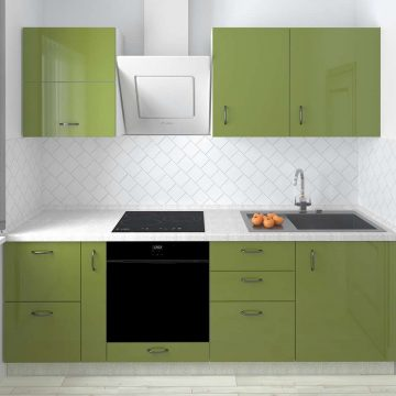 Кухня прямая, AGT глянец, оливковый