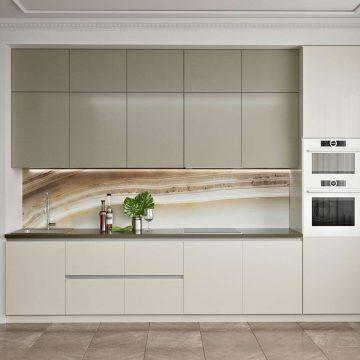 Кухня прямая, AGT глянец бежевый/матовый белый