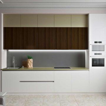 Кухня прямая, AGT матовый, белый/бежевый/древесный