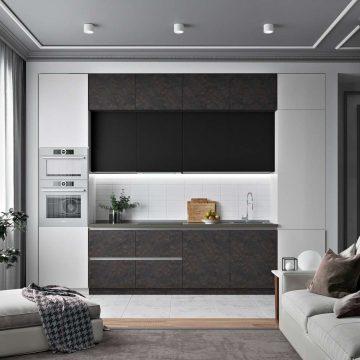 Кухня прямая, AGT матовый, черный/темно-серый/светло-серый