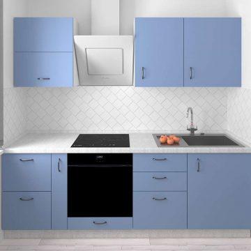 Кухня прямая, AGT матовый, голубой