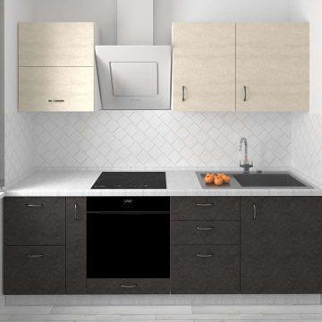 Кухня прямая, AGT матовый, светло-бежевый/черный